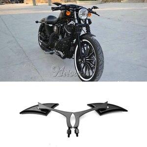 Image 1 - 2x להב אוניברסלי אופנוע מראות אחוריות להארלי Dyna Sportster Softail סיור רחוב Glide XL 1200 883 אלקטרה Glide