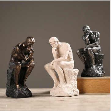 2019 Rodin the Thinker รูปปั้นและประติมากรรม Fine Art ชายรูปเปลือยยุโรปเรซิ่น Figurine ตกแต่งบ้านงานฝีมือของขวัญ
