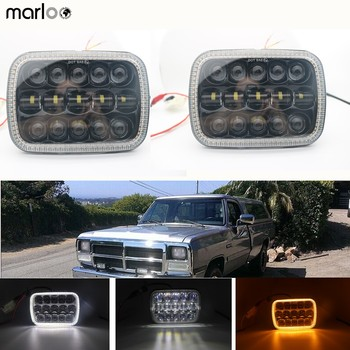 "Marloo 5x7 Auto White DRL Amber Signal Light Halo Led headlamp 6x7"" Square led headlight For Jeep Cherokee XJ 2pcs"