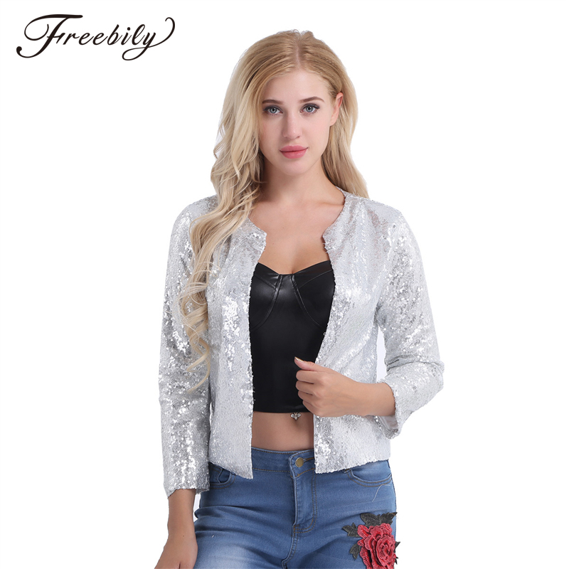 ea8eef9d46be7 Sparkly Sexy Women Sequin Cardigan Jacket Coat Long Sleeve Short Cropped  Bolero Shrug Clubwear Vintage Party Costumes-in Basic Jackets from Women s  Clothing ...