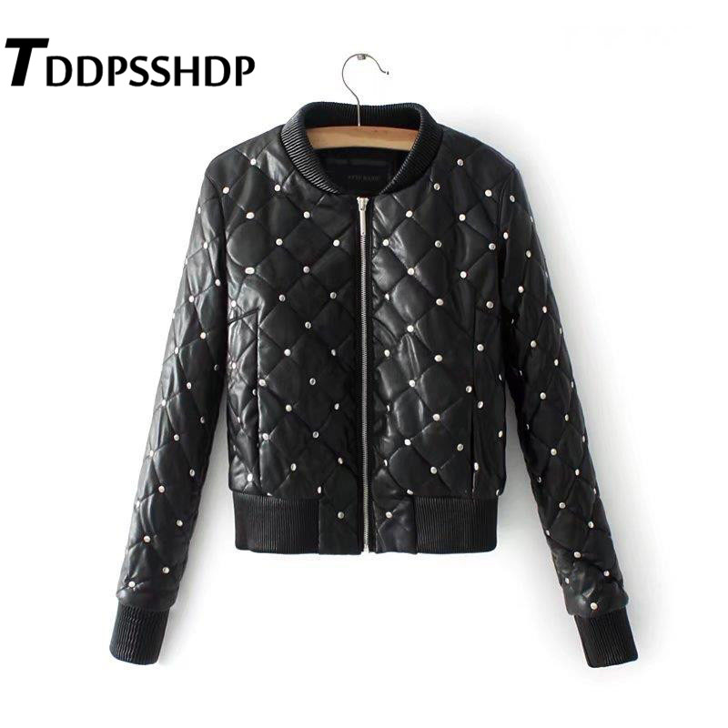 2019 Rhombus Engraving Metal Rivet Decor Women Pu   Leather   Coat Ladies Zipper Up Outwear Black Color Jacket