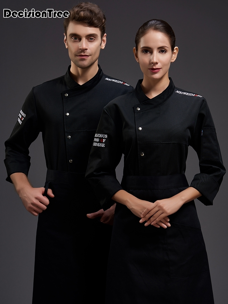 2019 Wholesale Unisex Kitchen Chef Uniform Bakery Food Service Full Sleeve Breathable Double Breasted Cook Wear Chef