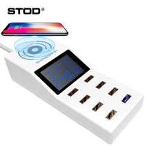 BTOD Qi Wireless USB Charger 8 Ports 40W LED Display QC3.0 Fast Charging For iPhone 8 X Samsung Huawei Lumia Nexus AC Adapter