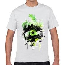 O-Neck Short T Shirt  2017 Creative Green Eyes 3D Print Cartoon T Shirt White Cotton Tee Fashion Casual Tops Tee  XQ-2