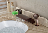 Luxury High Quality Red Oil Rubbed Bronze Bathroom Waterfall Basin Faucet Sink Mixer Deck Mounted 3pcs