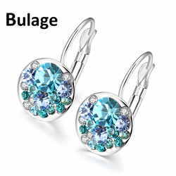 Fashion Round Charming Stud Earrings Crystal From Swarovski elements for Women Earrings Wholesale Jewelry Brinco New Year Gift