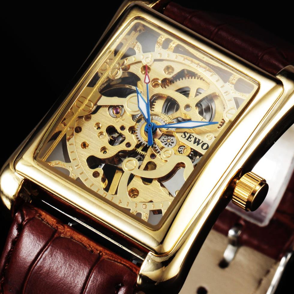 Fashion Sewor Brand Noble Classic Elegant Skeleton Luxury Clock Men Leather Mechanical Wristwatch Business Mens Sport Watches sewor classic hollow dial clock fast