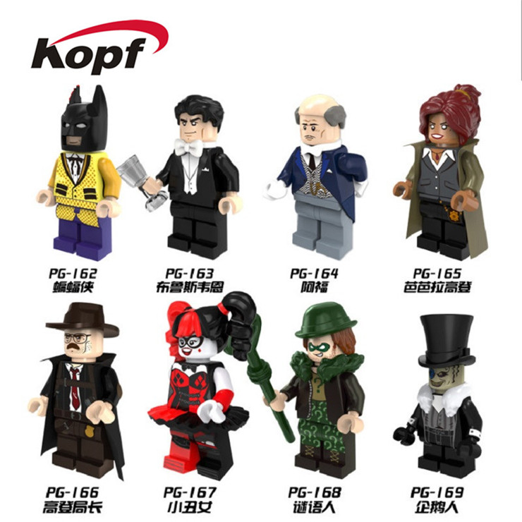Super Heroes Batman Harley Quinn Riddler Penguin Bruce Wayne Barbara Commissioner Gordon Alfred Building Blocks Kids Toys PG8045 single sale pirate suit batman bruce wayne classic tv batcave super heroes minifigures model building blocks kids toys gifts