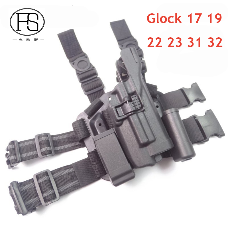 Tactical LV3 Glock Leg Holster With Flashlight Fit For Glock 17 19 22 23 31 32 Glock Gun Military Hungting Holster unbrand 17 18 19 23 32 36 tactical holster