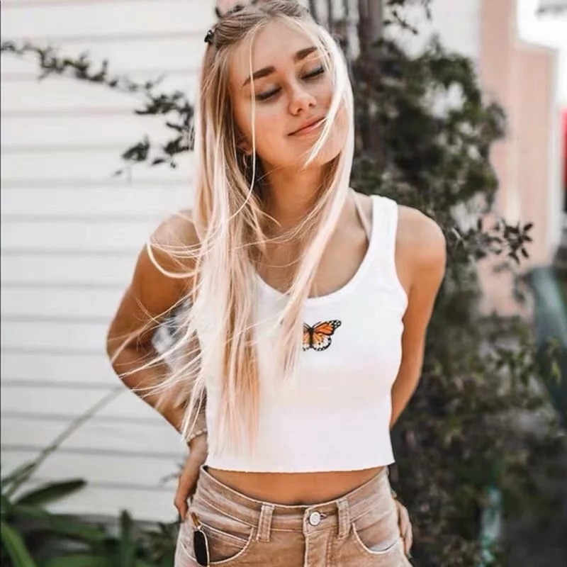 Simenual 蝶刺繍カジュアルタンク女性の基本的なスリムタンク夏トップス 2019 ファッションクロップトップノースリーブストリート新しい