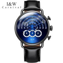 Switzerland relogio masculino Carnival Luxury Brand Men Watches Multi-function Sport Quartz Watch Waterproof clock C8818-6