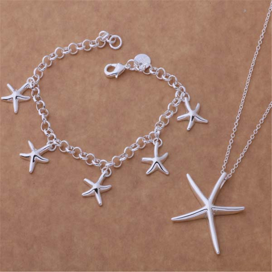 new factory wholesale silver plated jewelry fashion noble women classic necklace bracelet jewelry set sweet style