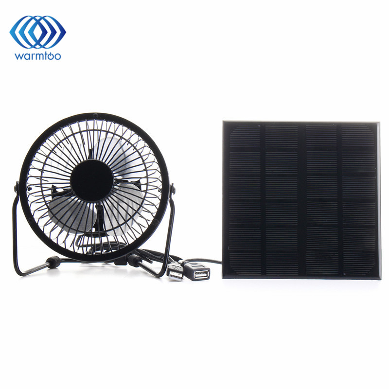4 Inch Cooling Ventilation Fan USB Solar Powered Panel Iron Fan For Home Office Outdoor Traveling Fishing usb powered 4 blade cooling fan white