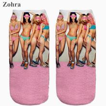 Zohra Hot Sale Sexy Graphic 3D Full Printing Women's Low Cut Ankle Sock lovely Sokker Multiple Colors Hosiery Socks