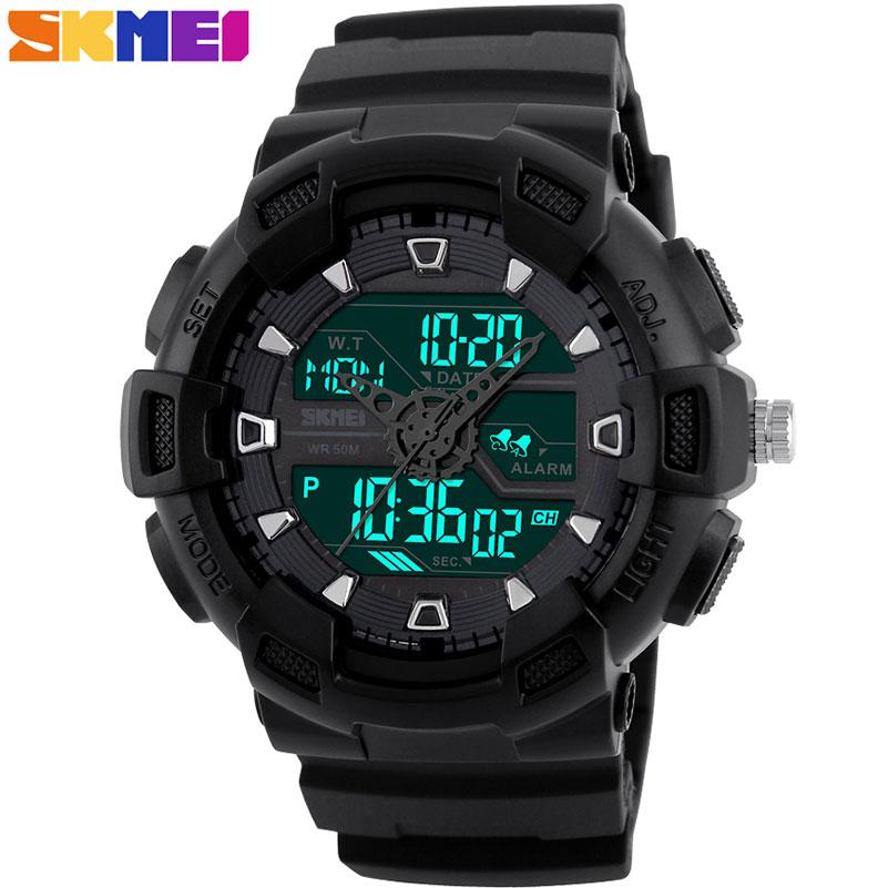 Prix pour SKMEI hommes sport montres double affichage numérique analogique LED Électronique montres Marque Montres à quartz 50 M étanche de natation montres
