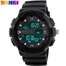 SKMEI мужчины спортивные часы двойной дисплей цифровой аналоговый СВЕТОДИОДНЫЕ Электронные часы Марки кварцевые Часы 50 М водонепроницаемые часы плавания