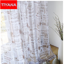 Vintage Newspaper Voile Curtains for Living Room Classical Style Window Decoration Tulle Curtains Drapes For Bedroom
