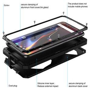 Image 2 - Para Oneplus 6 6 T Caso de Telefone Duro De Metal de Alumínio de Vidro Temperado Protetor de Tela 7 7Pro OnePlus Capa Heavy Duty proteção
