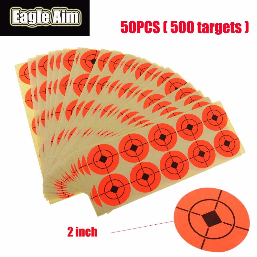 2 Inchx 500pcs Shooting Target Paper Orange Florescent Self-Adhesive Targets Stickers For Airsoft BB Gun Shooting Targets