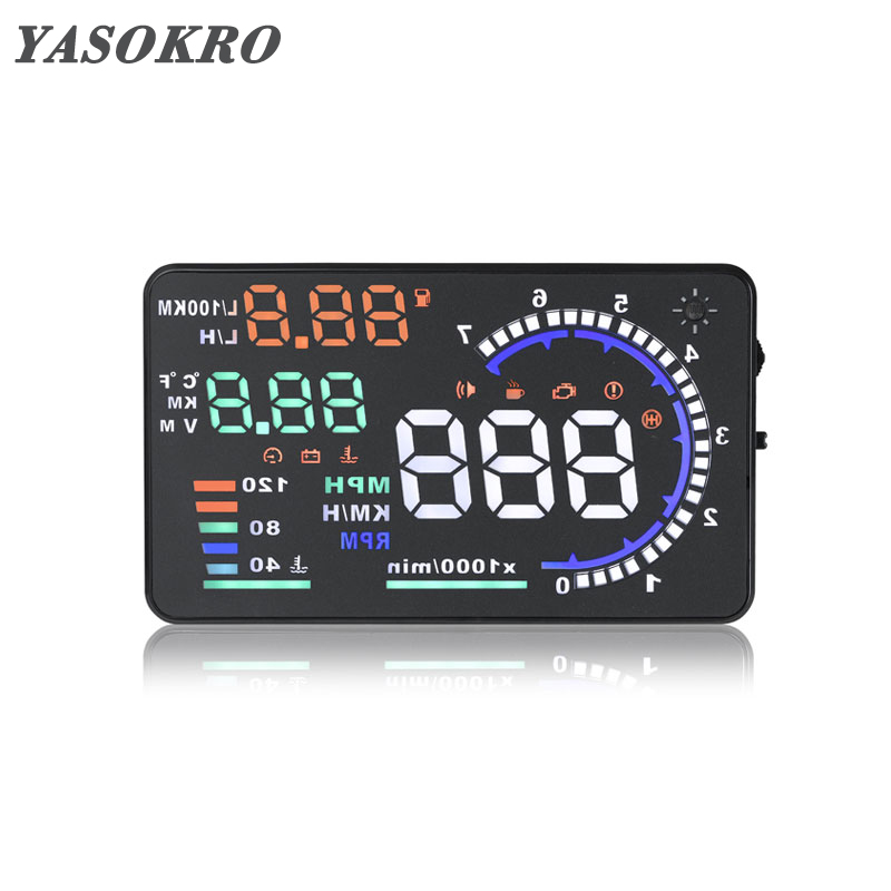 цена на YASOKRO A8 HUD Car Head Up Display Windshield Projector Fuel OBD II and EOBD Speedometers Car Projector Overspeed Temp Alarm