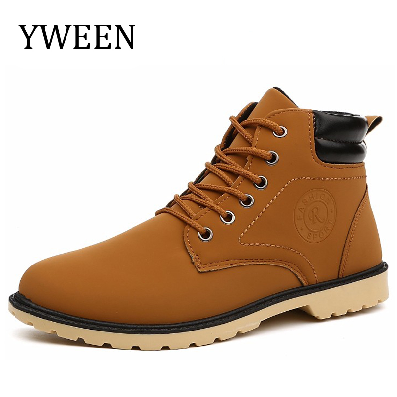 YWEEN Men Leather Boots Spring Autumn High Style Waterproof Fashion Outdoor Work Shoes Casual Martin Boot For Man Hot Sale yin qi shi man winter outdoor shoes hiking camping trip high top hiking boots cow leather durable female plush warm outdoor boot