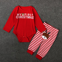 Red Long Sleeve Bodysuits + Deer Stripe Pants 2Pcs Children Pullover Clothing Sets Season Rompers Toddler Baby Christmas Costume
