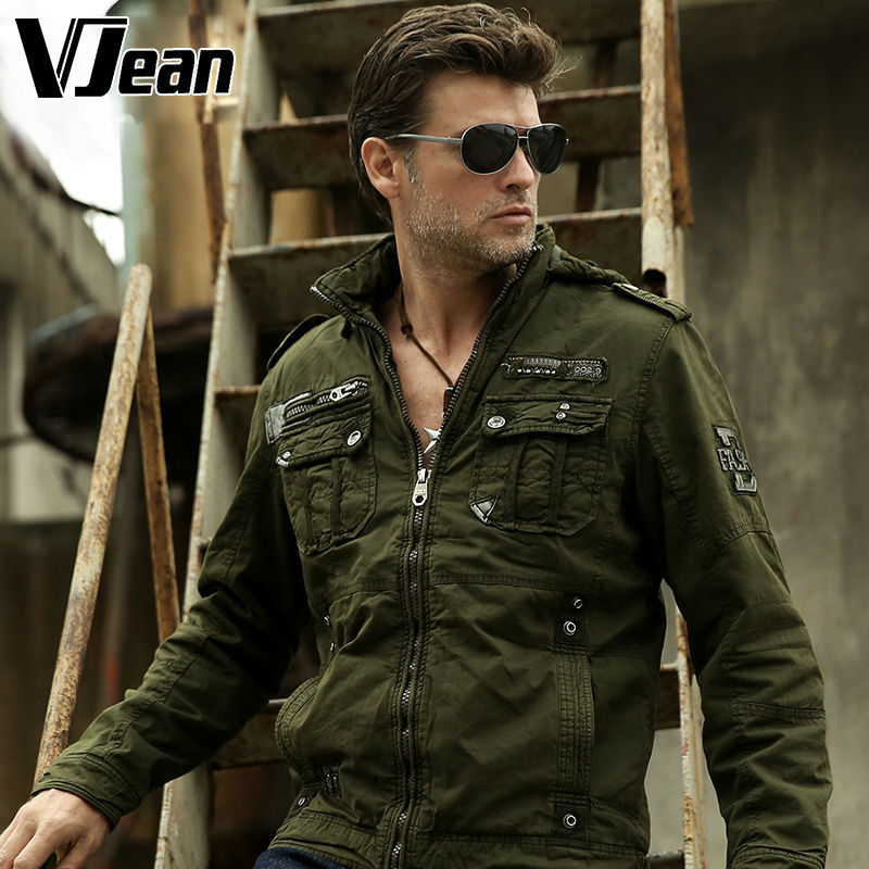 5631dffdc32 V JEAN Men s Sherpa Lined Military Bomber Jacket  2B140-in Jackets ...