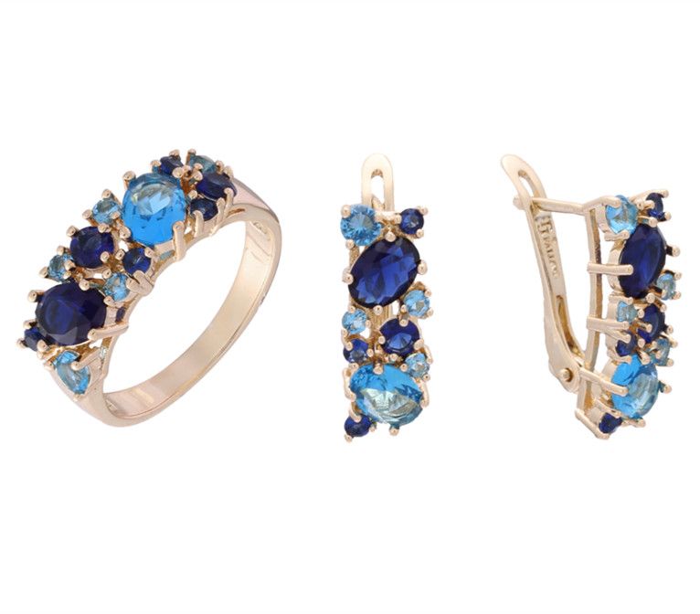 2018 New Fashion Rose Gold Color Women Jewelry Romantic Bridal Jewelry Sets Blue Stone Wedding Ring /Earring Jewelry Sets