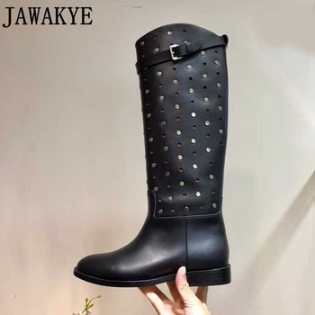Genuine leather knight long boots Woman hollow out rivets studded Motorcycle Booties Belt Strap flat heel Knee High Boots