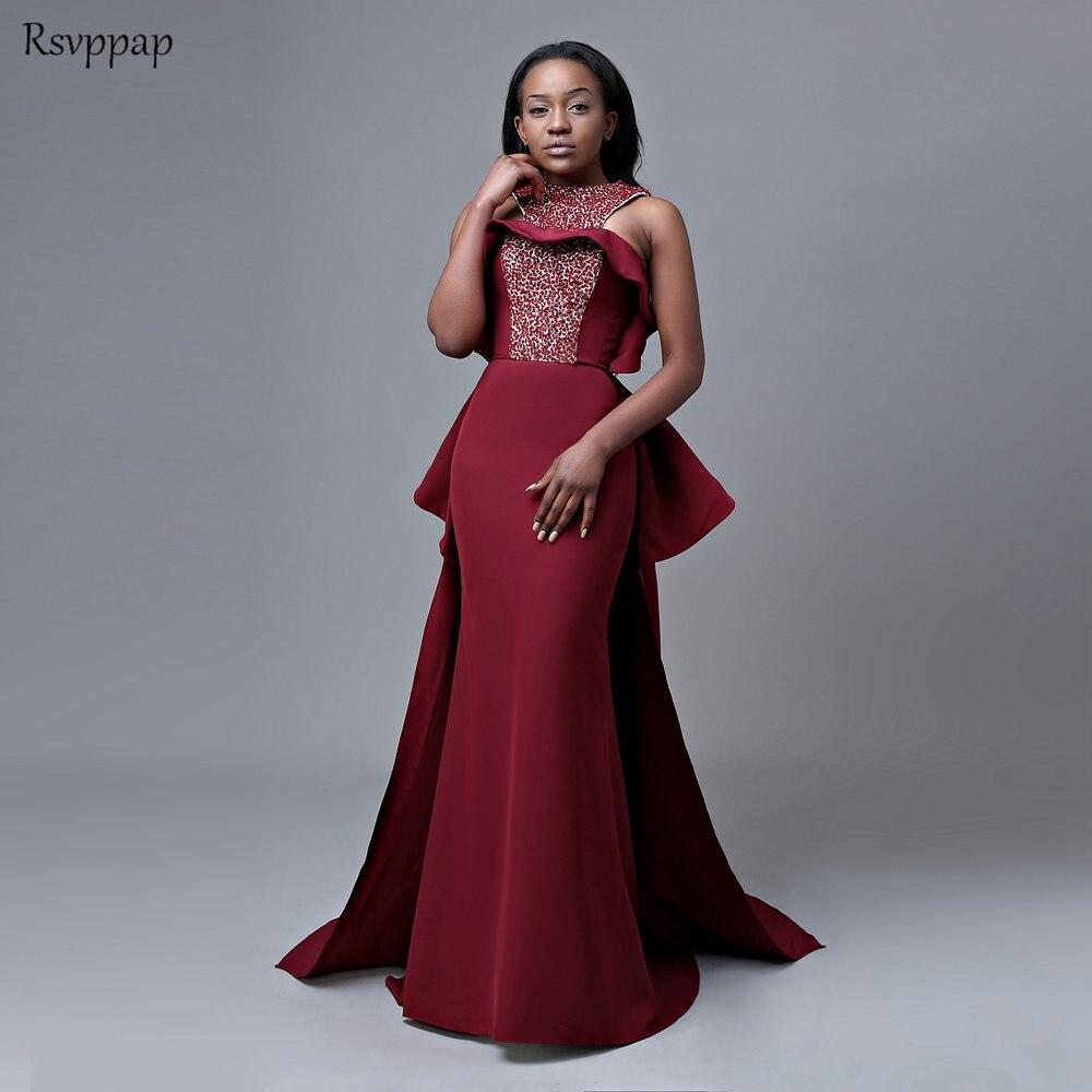New Arrival Long   Prom     Dresses   2019 Mermaid Scoop Sleeveless Top Beaded Floor Length African Burgundy   Prom     Dress