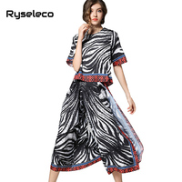 Ryseleco 2018 Sommer Casual 2 stücke Sets Frauen High Fashion Zebra Abstrakte Drucke Chiffon-Patch Split Breite Beinhosen + Tops Twinsets