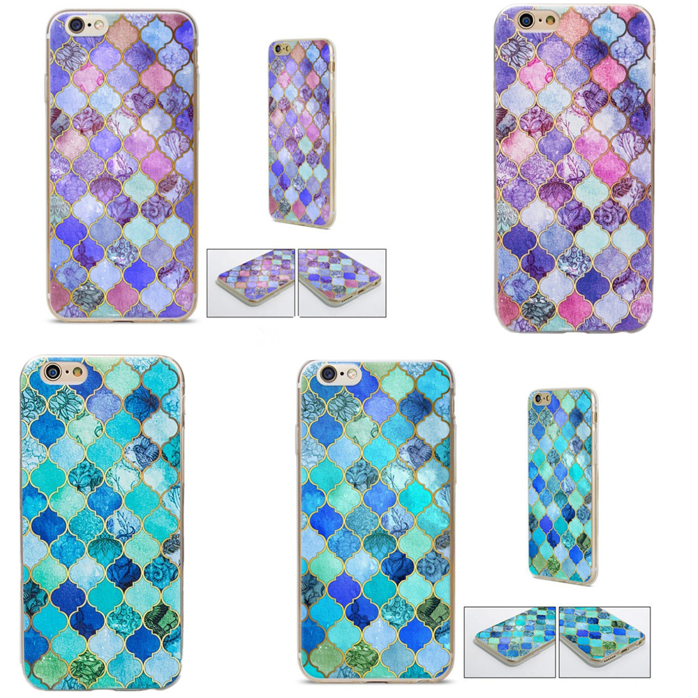 Beautiful Mermaid Cobalt Blue, Aqua & Gold Decorative Moroccan Tile Pattern Design Cover cases For iphone SE 5 5s 6 6s 6plus
