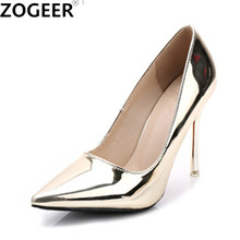 Hot 2017 Spring Autumn Women Pumps Sexy Gold Silver High Heels Shoes Fashion Pointed Toe Wedding Shoes Party Women Shoes(China)