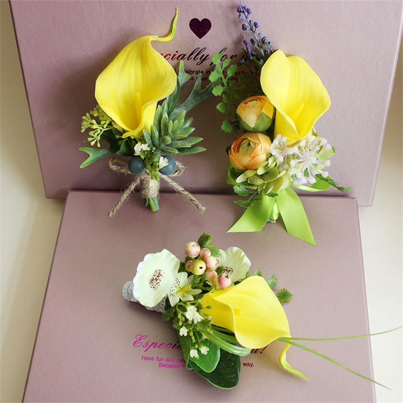 Yellow calla lily flower corsage groom groomsman wedding flower man yellow calla lily flower corsage groom groomsman wedding flower man suit men boutonniere for groom pin brooch party decoration in artificial dried flowers mightylinksfo