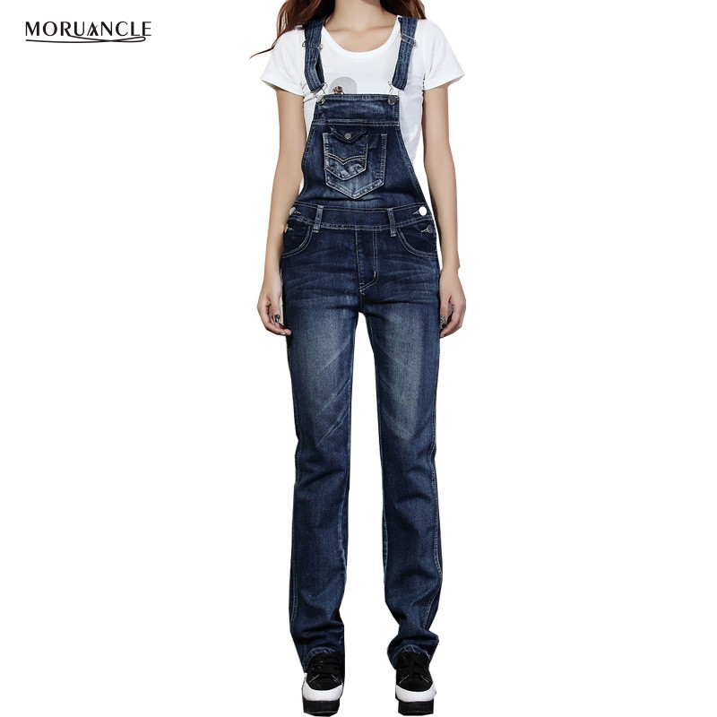 MORUANCLE Fashion Womens Cute Jeans Bib Overalls Female Denim Rompers Jumpsuits With Big Pockets Size S-XXL free shipping denim overalls men 2016 new brand fashion mens bib denim shorts bib jeans fast delivery size s m l xl xxl 3xl 4xl