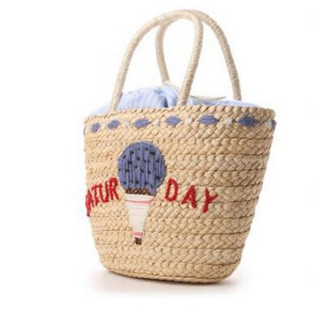 women straw knitted sunday embroidery words women bench holiday handbag