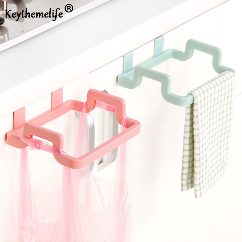 Single layer Kitchen Storage Hanging Rack Cupboard Door Back Style Towel Stand Holder Trash Garbage Bags