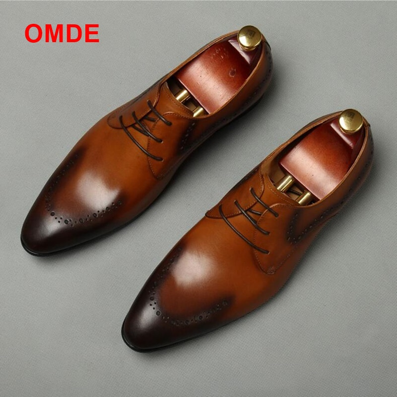 OMDE British Style Pointed Toe Leather Shoes Men Brogue Carved Formal Shoes Dreathable Lace-up Dress Shoes Groom Wedding Shoes black leather british style carved men brogue shoes pointed toe lace up flat men bussiess dress men shoes high quality