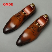 OMDE British Style Pointed Toe Leather Shoes Men Brogue Carved Formal Shoes Dreathable Lace-up Oxford Shoes Men's Wedding Shoes 2018 new broch leather shoes hit color derby carved tassel metal british tie men s shoes