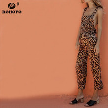 ROHOPO Leopard Sexy Overall Pant Ankle Length Straight Belted Strap Vintage Cargo Pants #YY310C
