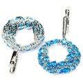 Wonderful Big Circle Swiss Blue Topaz, White CZ SheCrown Wedding   Silver Earrings 51x30mm