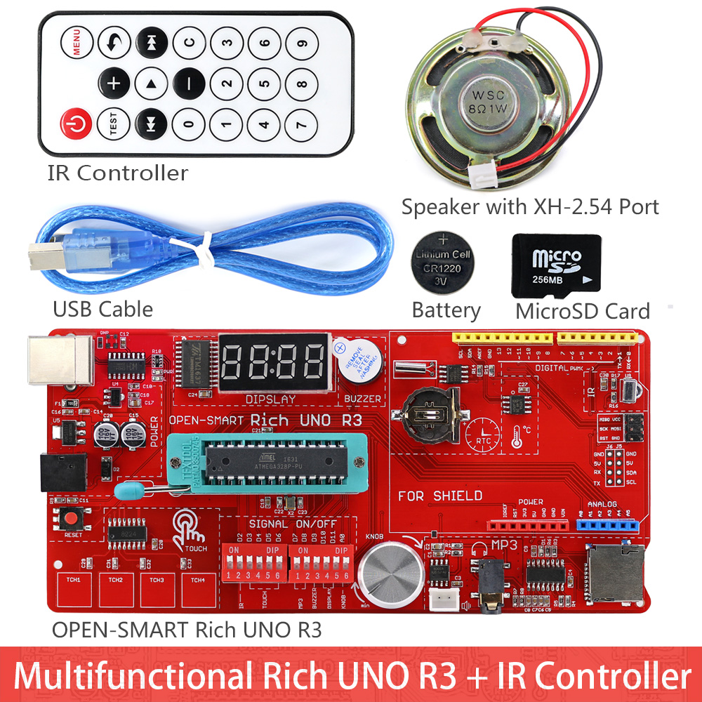 Image 2 - Rich UNO R3 Atmega328P Development Board Sensor Module Starter Kit for Arduino with IO Shield MP3 DS1307 RTC Temperature Sensor-in Industrial Computer & Accessories from Computer & Office