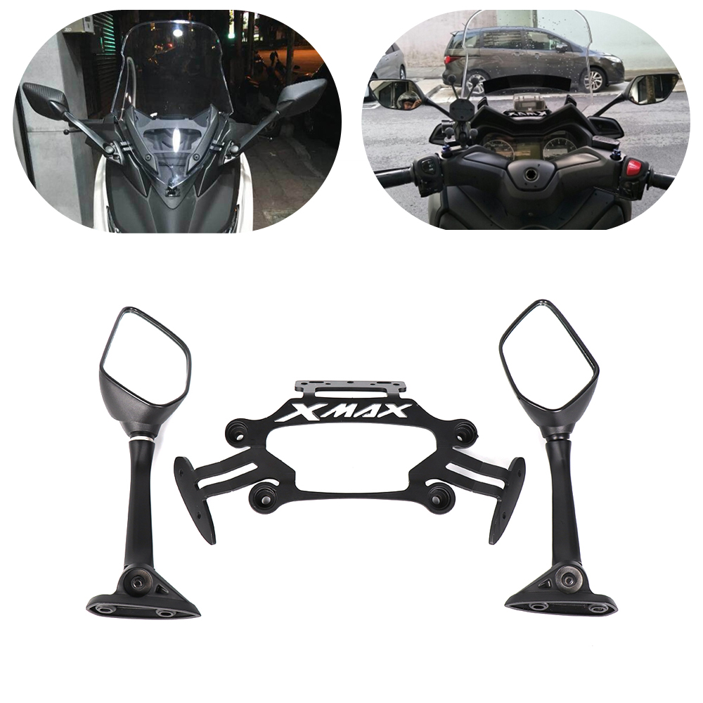For Yamaha XMAX X-MAX 250 300 2017 2018 Motorcycle Smartphone Mobile Phone Holder GPS Plate R25 mirror Bracket XMAX300 XMAX250 motorcycle modified front stand holder smartphone mobile phone bracket gps plate mirror bracket for yamaha xmax x max 250 300