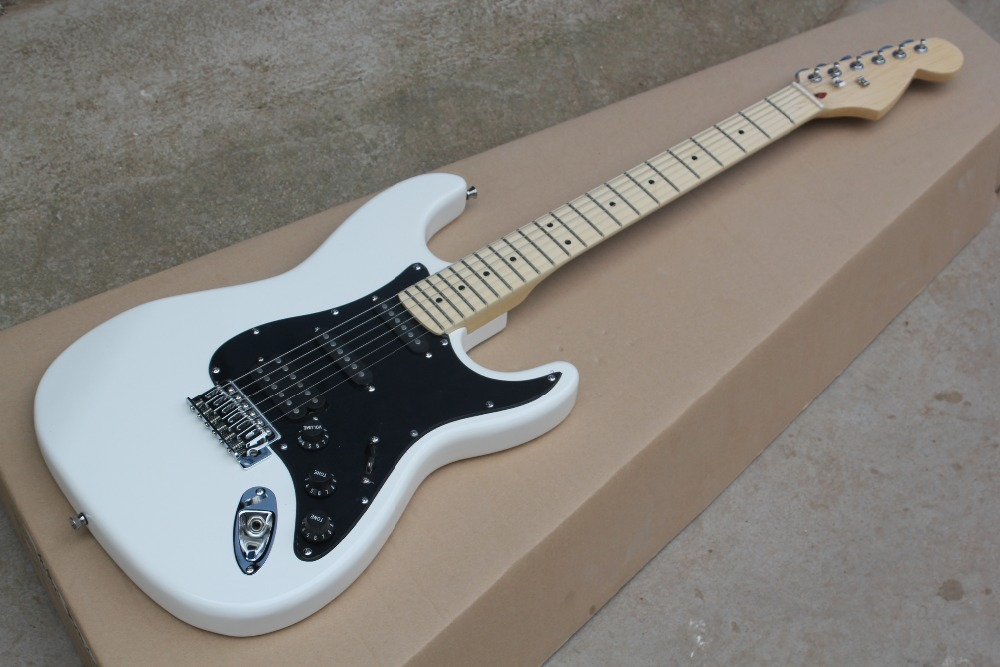 China Custom guitar factory New Arrival Top quality St ssh white maple fingerboard Electric Guitar in stock stratocaster 10 25 стоимость