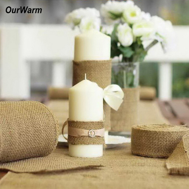 10M15CM Burlap Ribbon Roll Natural Jute Hessian Table Runners For Wedding Decoration Vintage