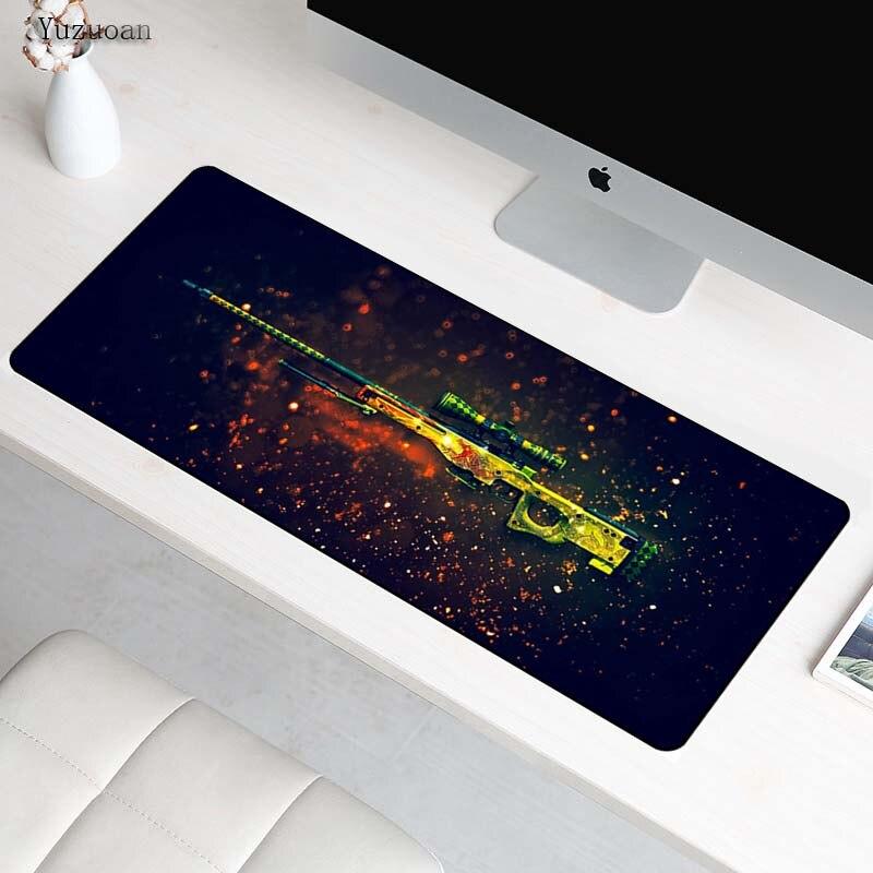 Yuzuoan 900*400*3mm Gun Game L XL Large Gaming mousepad gamer mouse mat pad for CS GO Dragon for LOL Dota Free Shipping As Gift