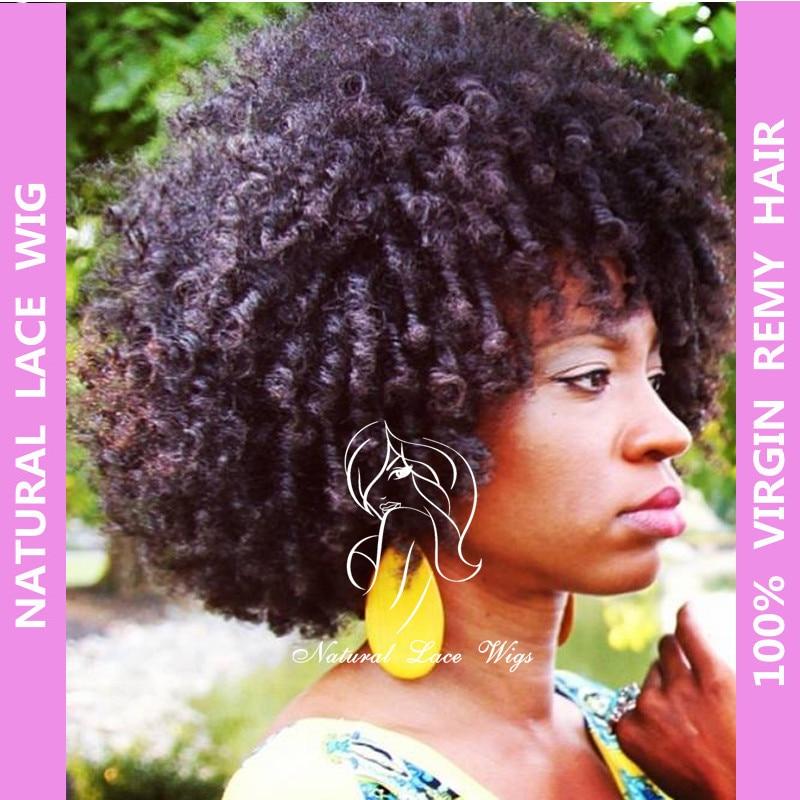 Fahion Brazilian virgin natural human hair wigs afro kinky curl wig african american yaki lace - NLWHair Store store