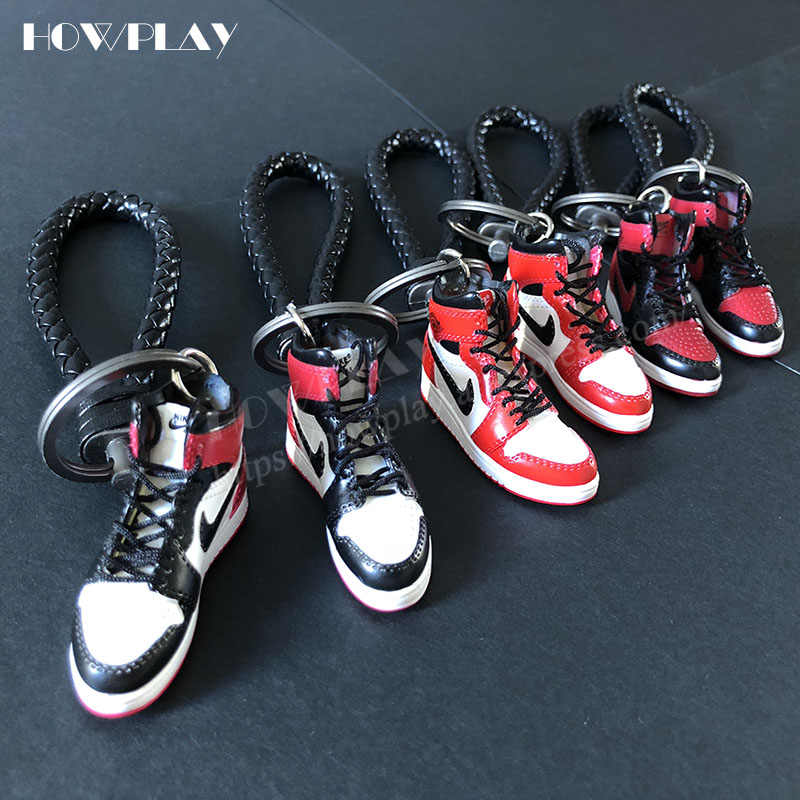 a17ba385ad5129 Howplay AJ1 sneaker keychains 3D mini basketball shoes model backpack  pendant keyring creative gifts toy for