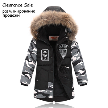 Winter Jacket For Boy Real Fur Hooded Down Jacket 2-10Y Kids Boys Casual Warm Thicken Children Winter Outerwear & Coats