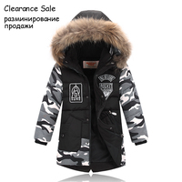 Winter Jacket For Boy Real Fur Hooded Down Jacket 2 10Y Kids Boys Casual Warm Thicken Children Winter Outerwear & Coats